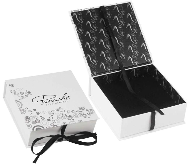 Custom Printed Hinged Lid Rigid Boxes With Ribbon Closure